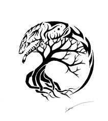 Spirit Wolf And Tree Of Life Tattoo Designs