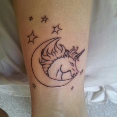 Stars Moon And Unicorn Outline Tattoos