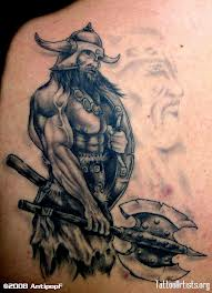 Strong Warrior Viking Tattoo On Back