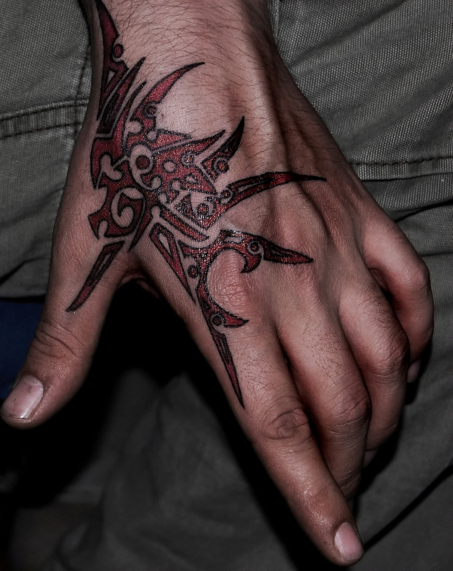 Stunning Tribal Shark Tattoo For Hand