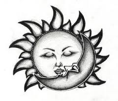 Sun And Moon Kiss Tattoo Stencil