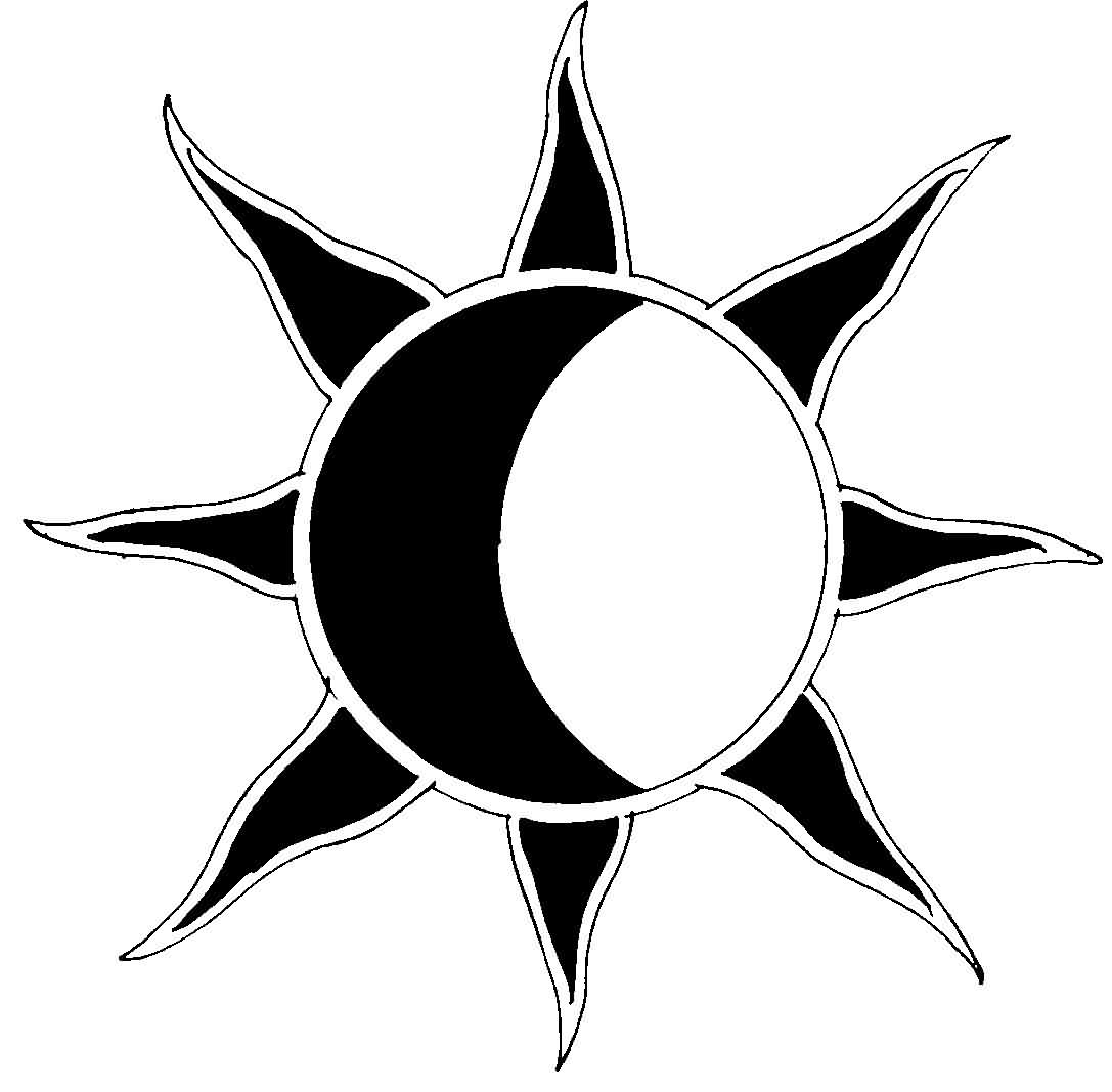 Sun Moon Tattoo Stencil