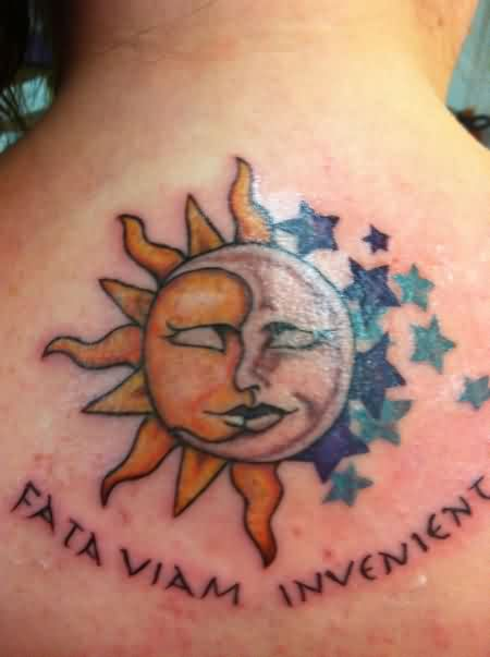 Sun Moon With Stars Tattoos On Upper Back