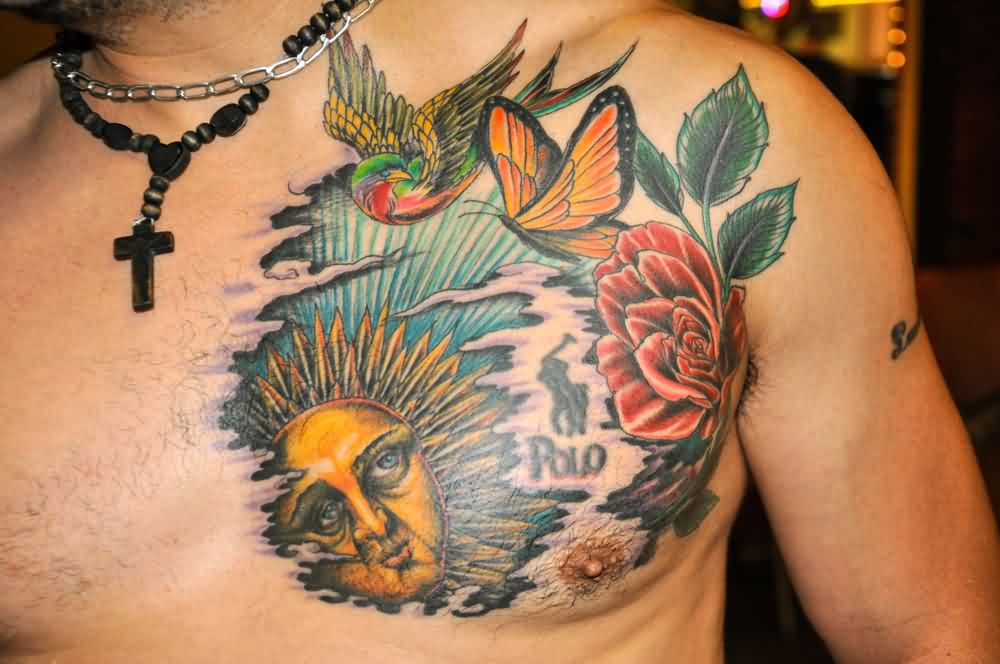 Sun Rose And Birds Tattoos On Chest For Men