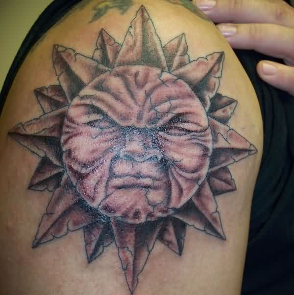 Sun Tattoo For Shoulder