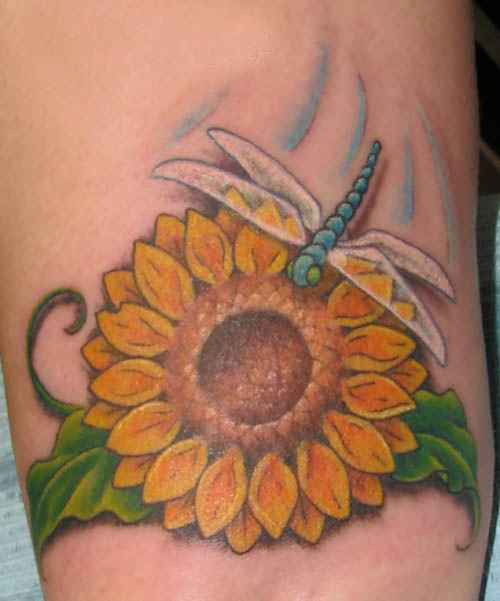 Sunflower And Dragonfly Tattoos
