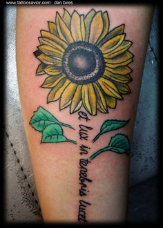 Sunflower And Wording Tattoos