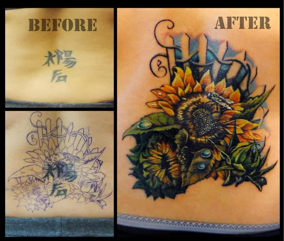 Sunflower Coverup Tattoos