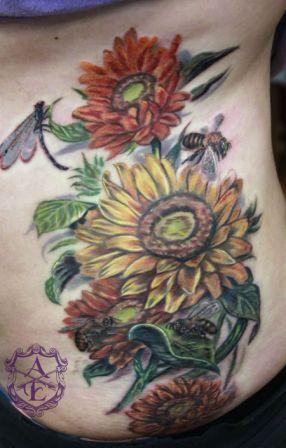 Sunflower With Bees Tattoos