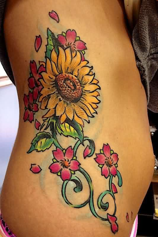 Sunflower With Blossoms Tattoos On Ribs