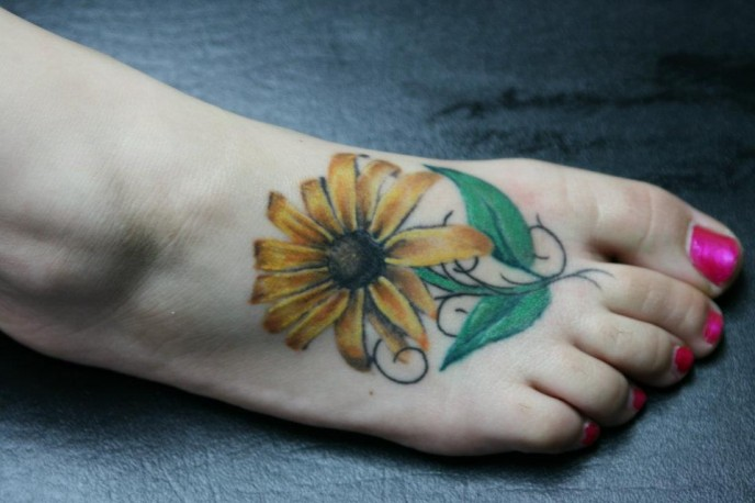 Sunflower With Green Leaves Tattoos On Right Foot