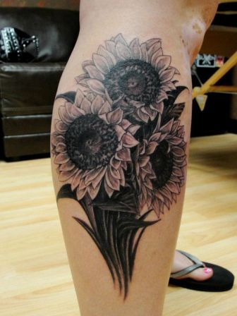 Sunflowers Tattoos On Right Leg