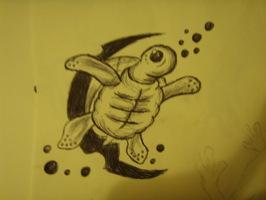 Swimming Turtle Tattoo Print