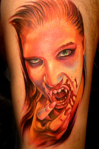 Tattoo Of Vampire Bleeding Girl