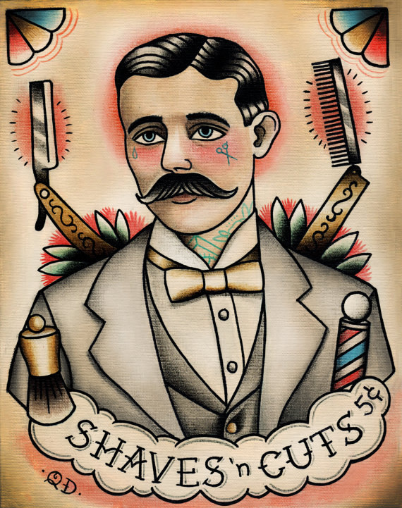 Traditional Barber Tattoo FlashTraditional Barber Tattoo Flash