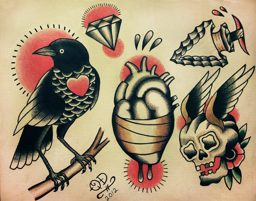 Traditional Bird Heart Skull Tattoo Sheet
