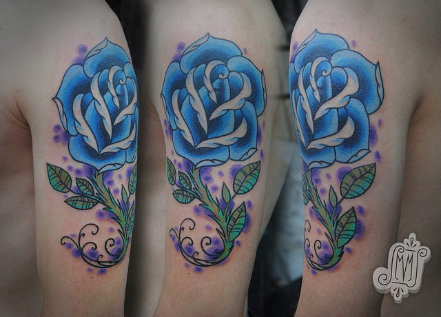 Traditional Blue Rose Shoulder Tattoos