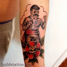 Traditional Boxer And Rose Tattoos