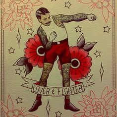 Traditional Boxer And Roses Tattoos Print