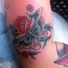 Traditional Butterfly Rose Tattoos On Arm