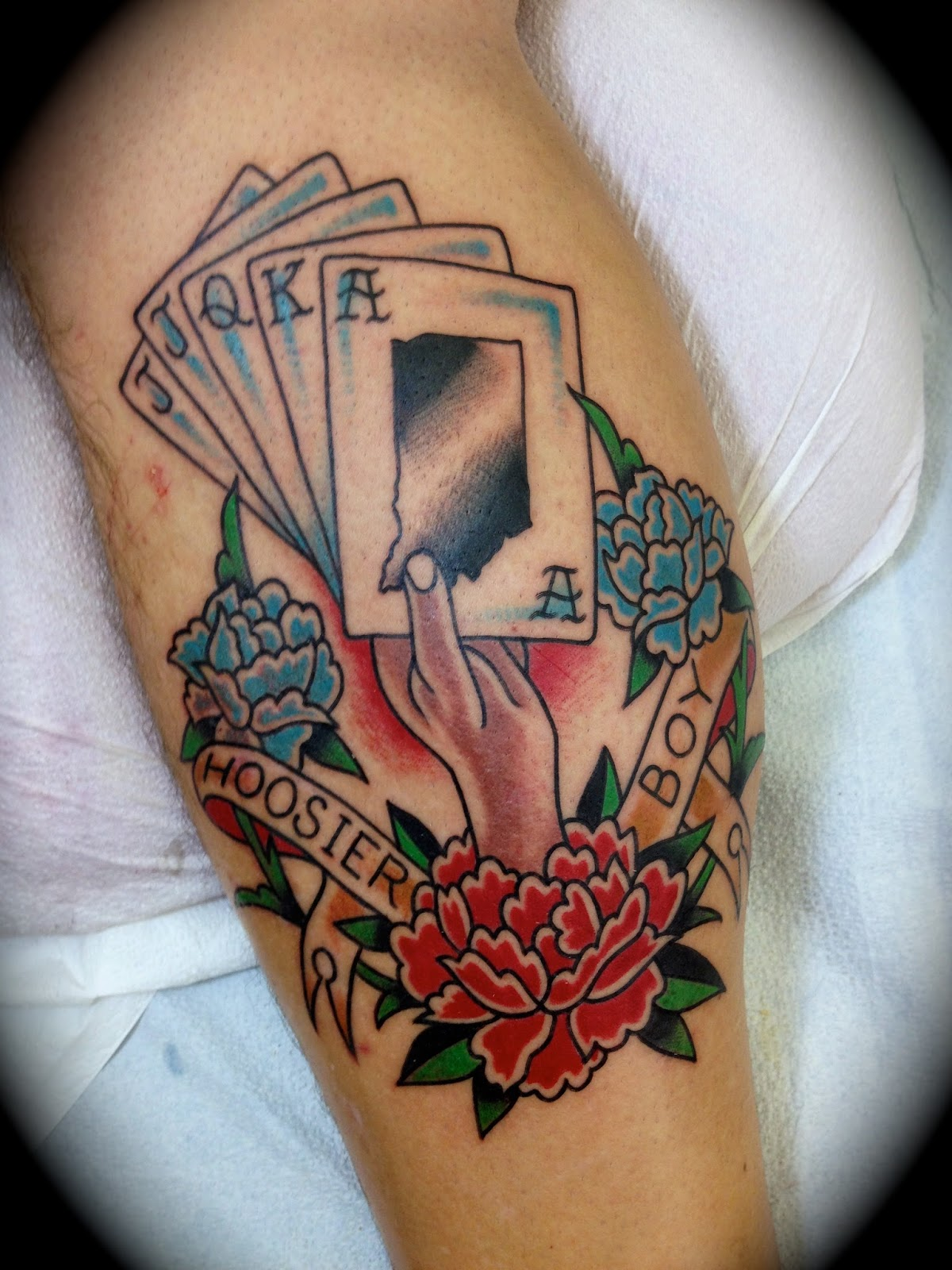 Traditional Cards Tattoos With Flowers