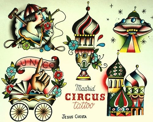 Traditional Circus Tattoo Sheet