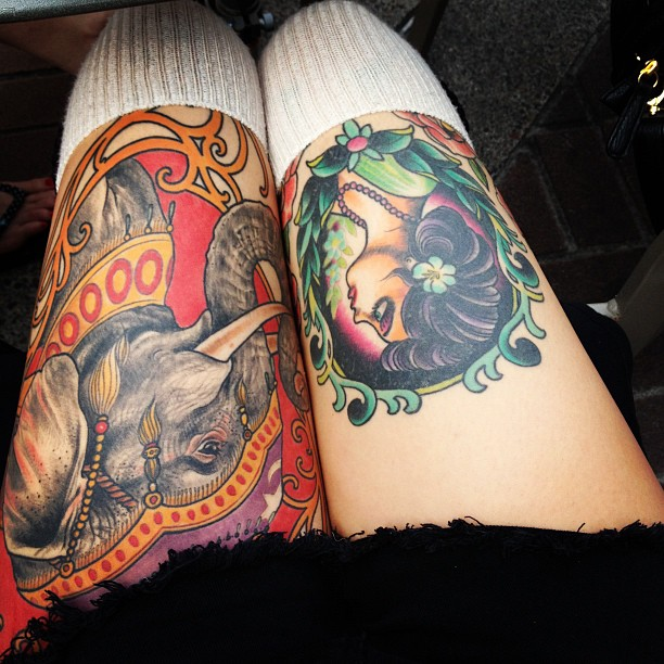 Traditional Circus Tattoos On Both Thighs