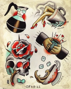 Traditional Coffee Rose Skull Tattoo Sheet
