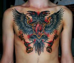 Traditional Crows And Key Tattoos On Chest