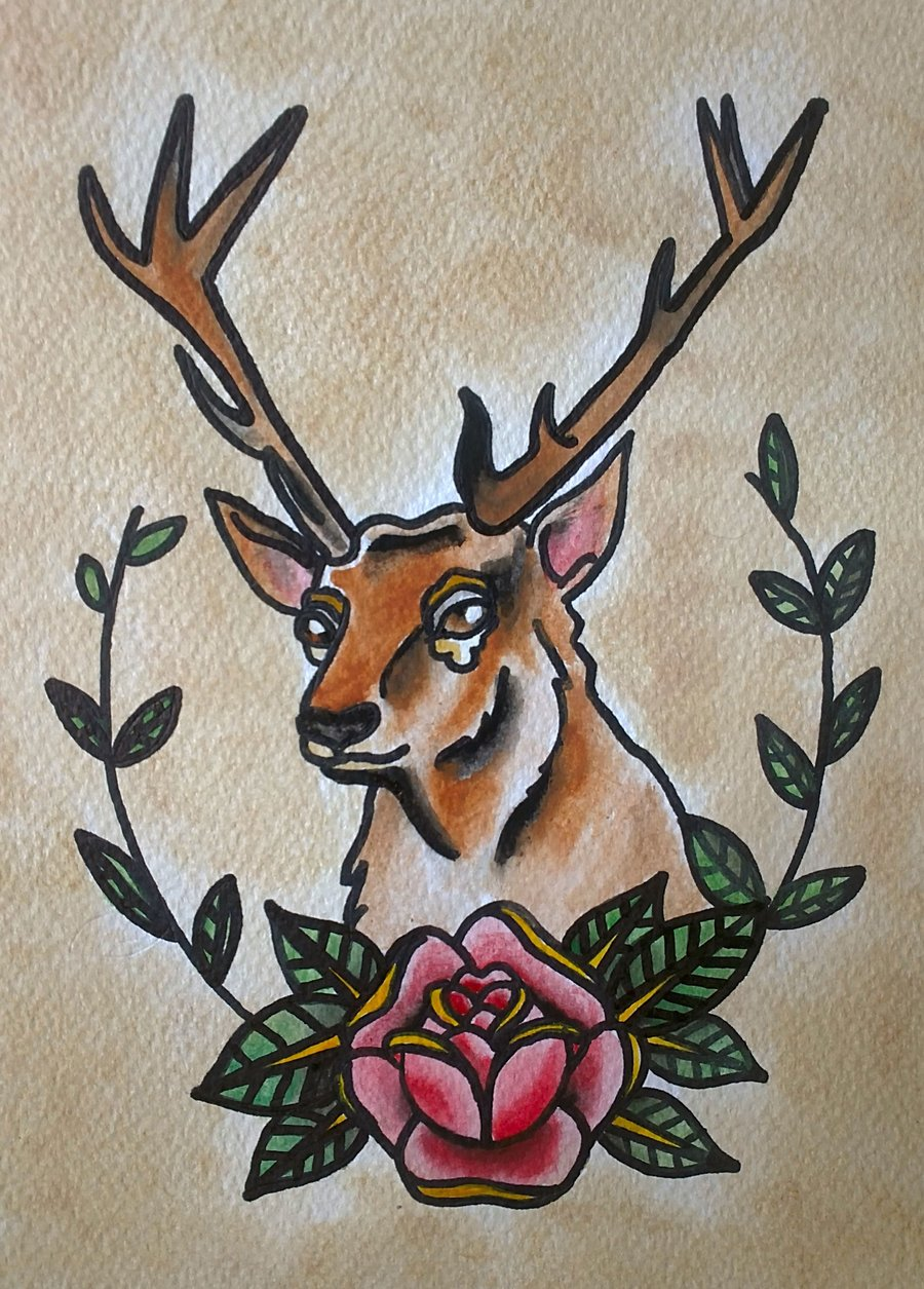 Traditional Deer And Rose Tattoo Designs