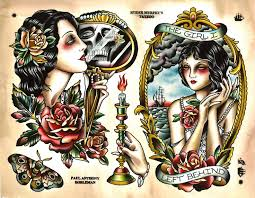 Traditional Girl Rose Tattoo Designs