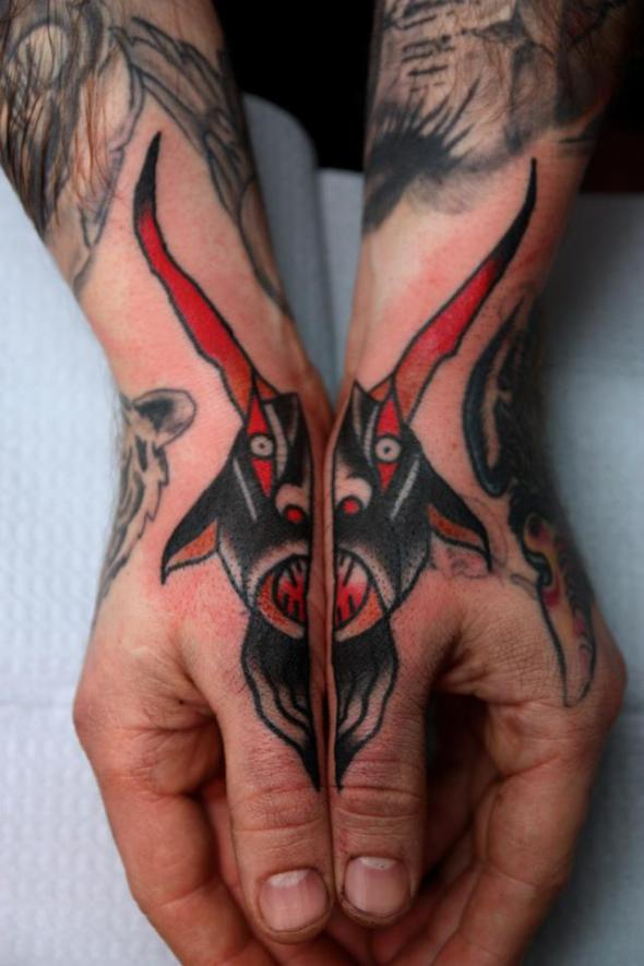 Traditional Goat Tattoos On Hands