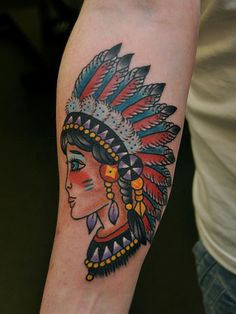 Traditional Lady Head Tattoo For Arm