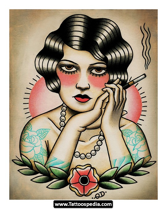 Traditional Lady Tattoo Flash