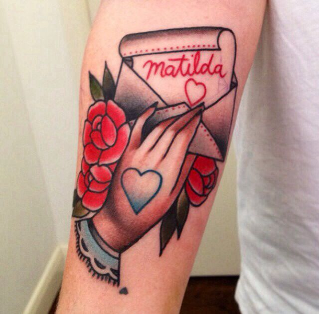 Traditional Letter Tattoo On Arm