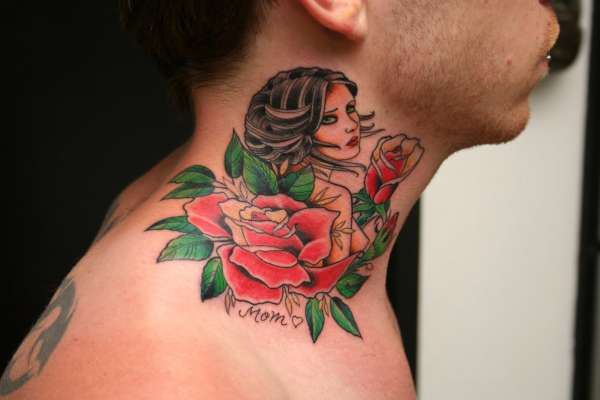 Traditional Mother Tattoo On Neck