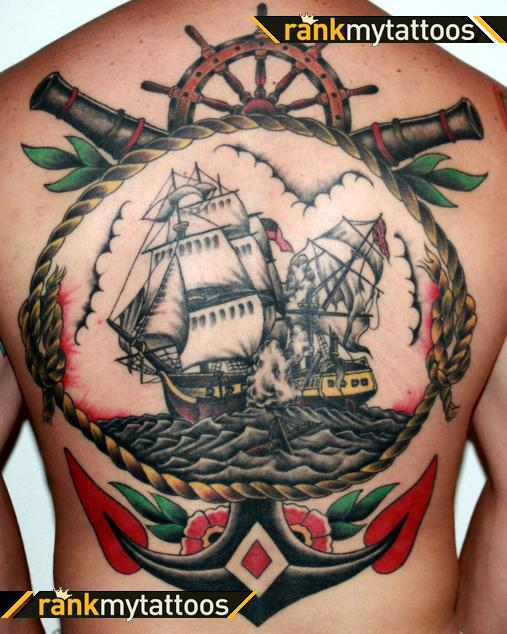 Traditional Navy Tattoos On Back Of Body