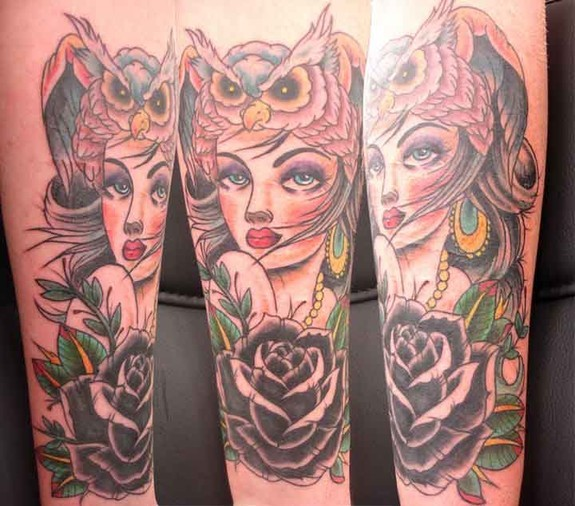 Traditional Owl Lady And Rose Sleeve Tattoos