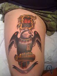 Traditional Owl Tattoo For Thigh