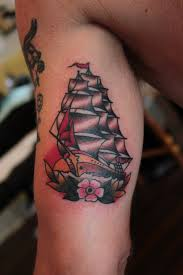 Traditional Pirate Ship Tattoo On Muscles
