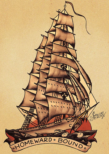 Traditional Pirate Ship Tattoo Print