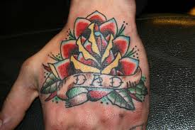Traditional Rose Tattoo On Hand For Dad