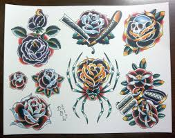 Traditional Rose Tattoos Sheet