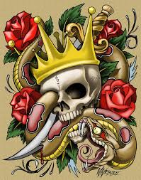 Traditional Roses And King Skull Tattoos