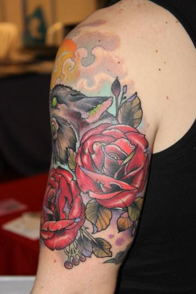 Traditional Roses Style Tattoos On Biceps