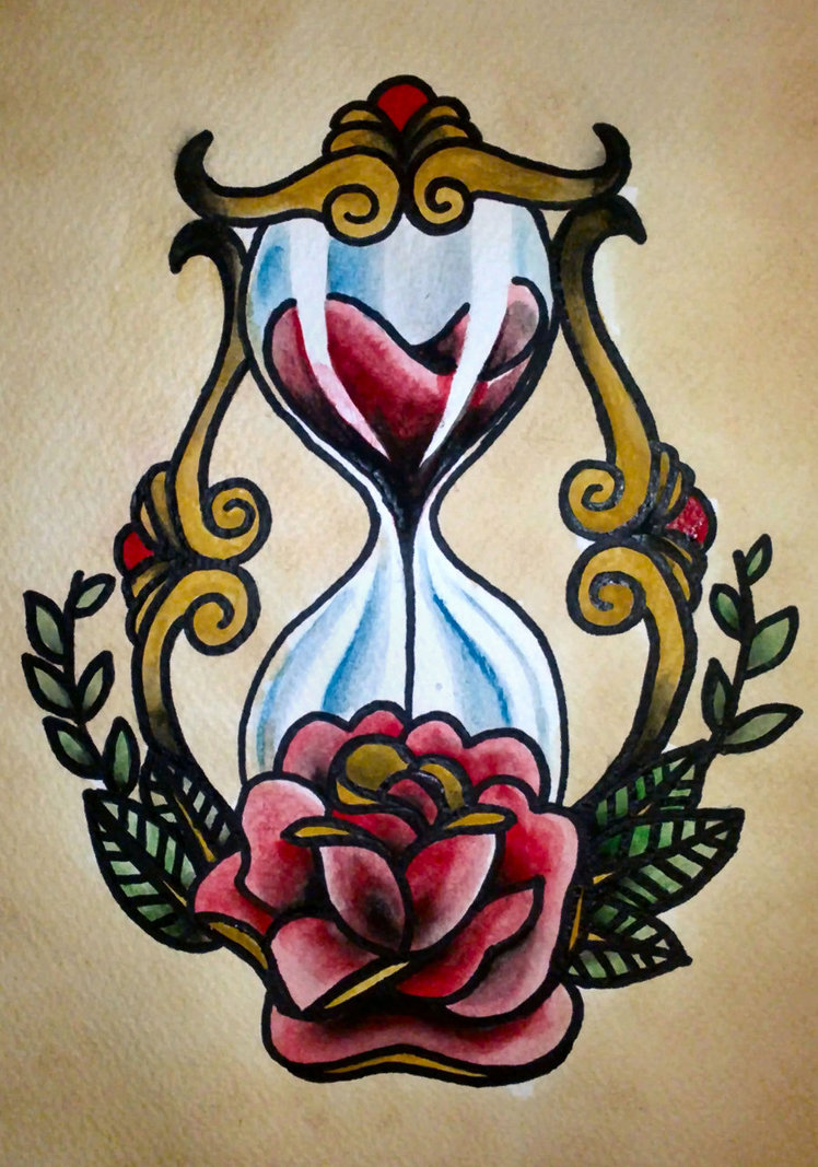 Traditional Sandclock Rose Tattoo Design