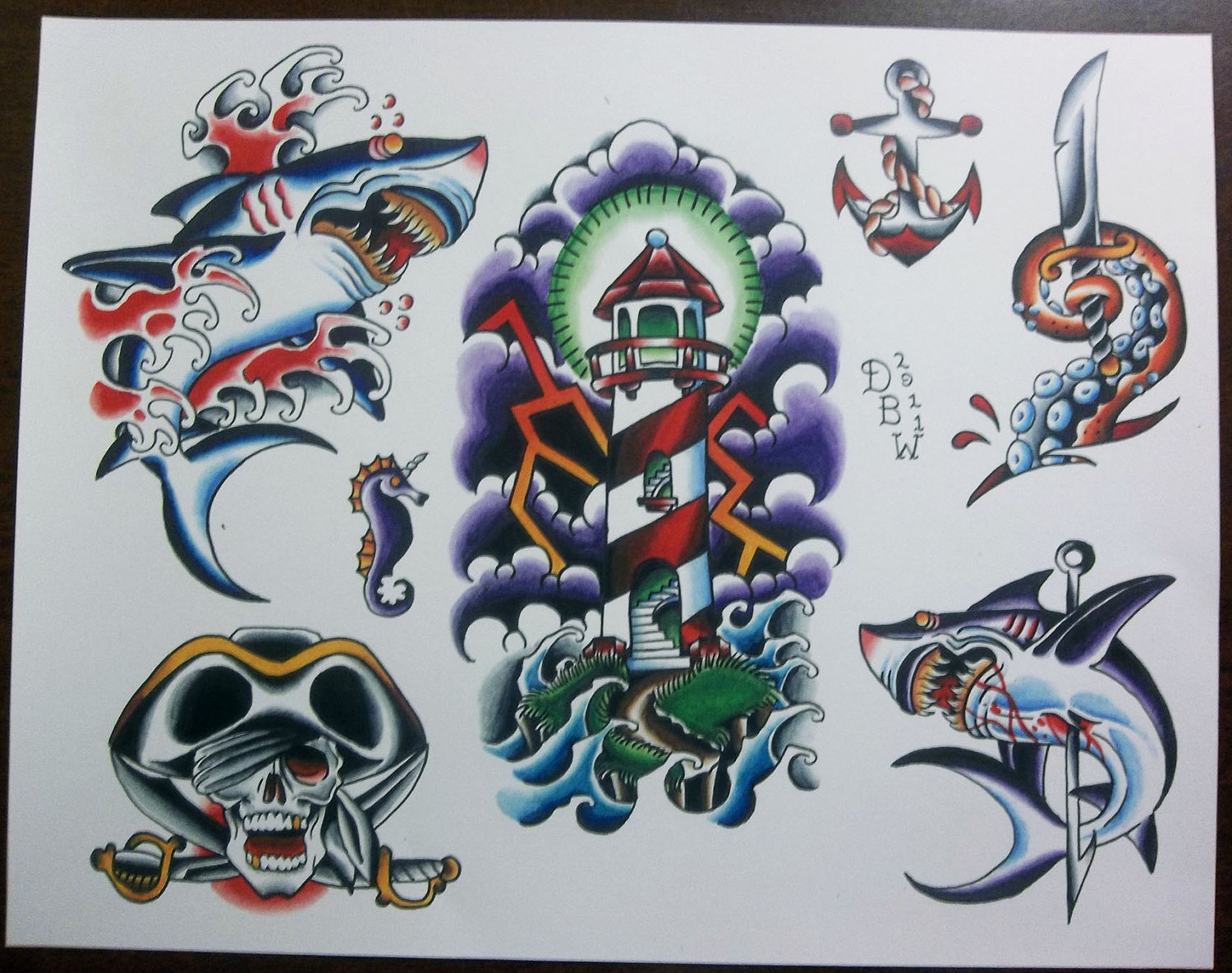 Traditional Shark Lighthouse Skull Tattoo Sheet