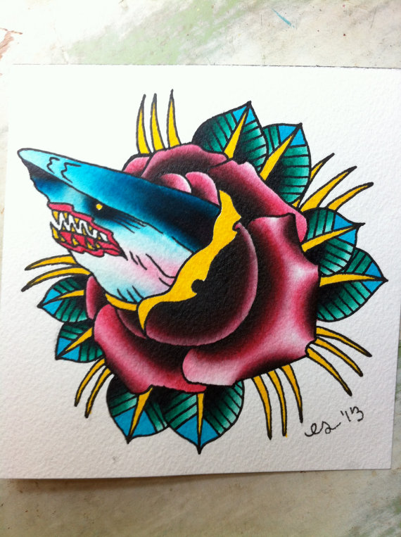 Traditional Shark Rose Tattoo Card