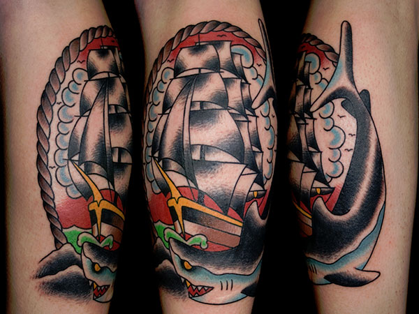 Traditional Ship Tattoo On Forearm