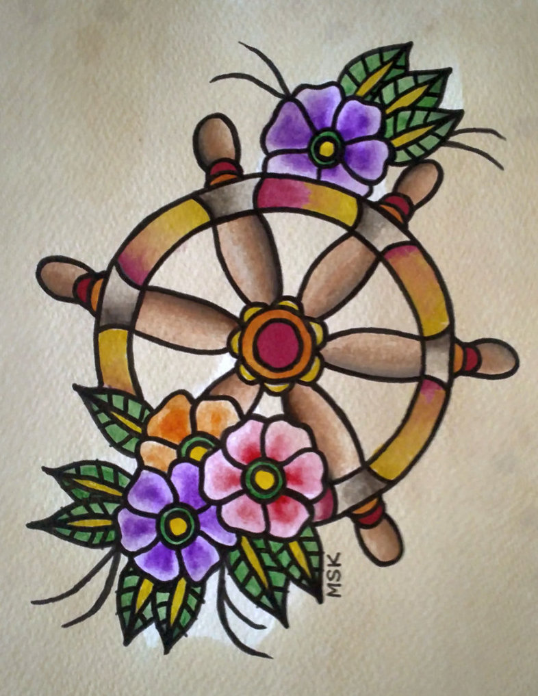 Traditional Ship Wheel Tattoo Designs